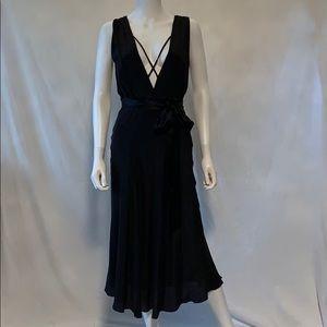 Miguelina Gloria Silk Crepe Black Midi Dress